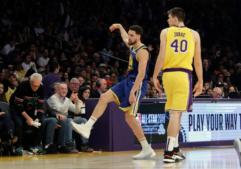 Klay Thompson and Ivica Zubac, Los Angeles Lakers vs Golden State at Staples