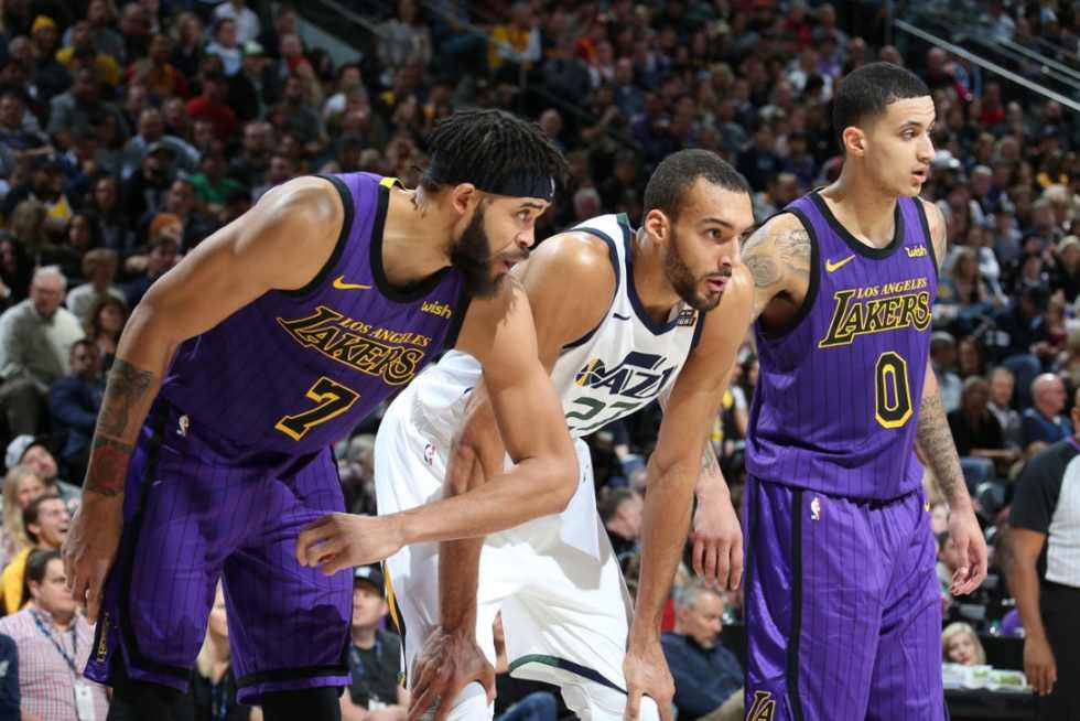 JaVale McGee and Rudy Gobert, Los Angeles Lakers vs Utah Jazz at Vivint SmartHome Arena