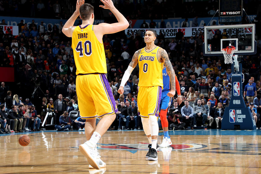 Ivica Zubac and Kyle Kuzma, Los Angeles Lakers vs Oklahoma City Thunder at Chesapeake Energy Arena