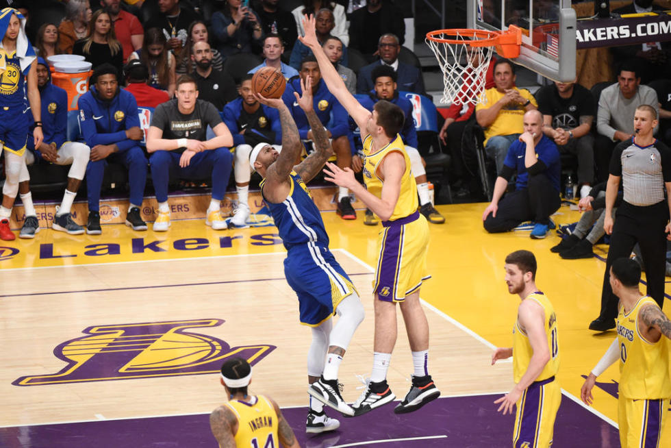 DeMarcus Cousins and Ivica Zubac, Sviatoslav Mykhailiuk, Los Angeles Lakers vs Golden State at Staples