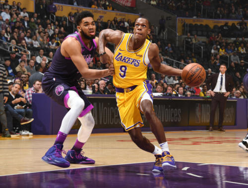 Rajon Rondo, Los Angeles Lakers vs Minnesota Timberwolves at Staples Center (Andrew D. Bernstein, NBAE via Getty Images)