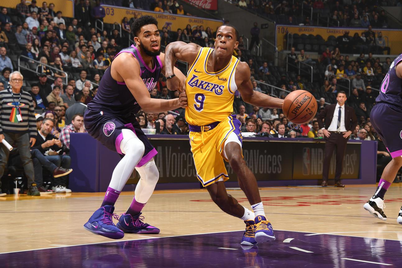 Rajon Rondo, Los Angeles Lakers vs Minnesota Timberwolves at Staples Center (Andrew D. Bernstein, NBAE via Getty Images)