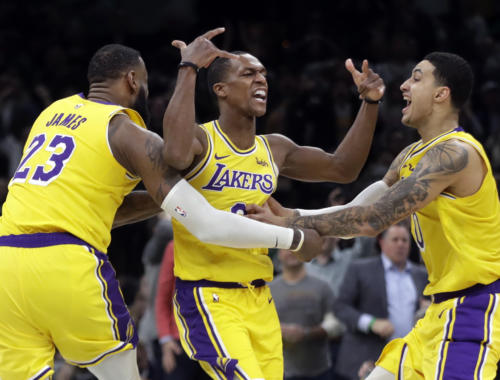 LA Lakers-Rajon Rondo, LeBron James and Kyle Kuzma, Los Angeles Lakers vs Boston Celtics at TD Garden