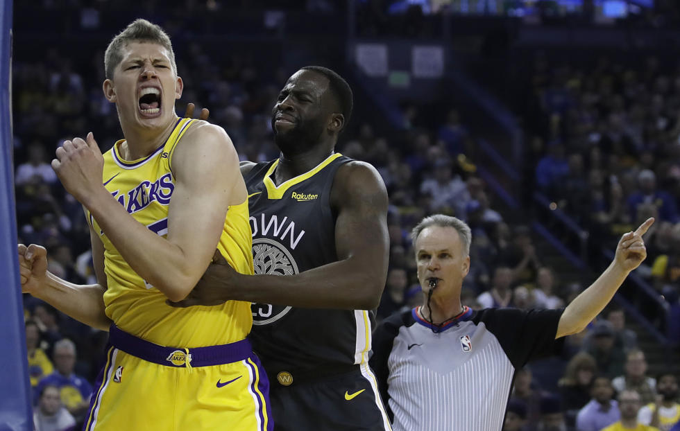 Moritz Wagner and Draymond Green, Los Angeles Lakers vs Golden State Warriors at Oracle Arena
