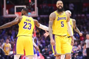 LeBron James and Tyson Chandler, Los Angeles Lakers vs LA Clippers at Staples Center