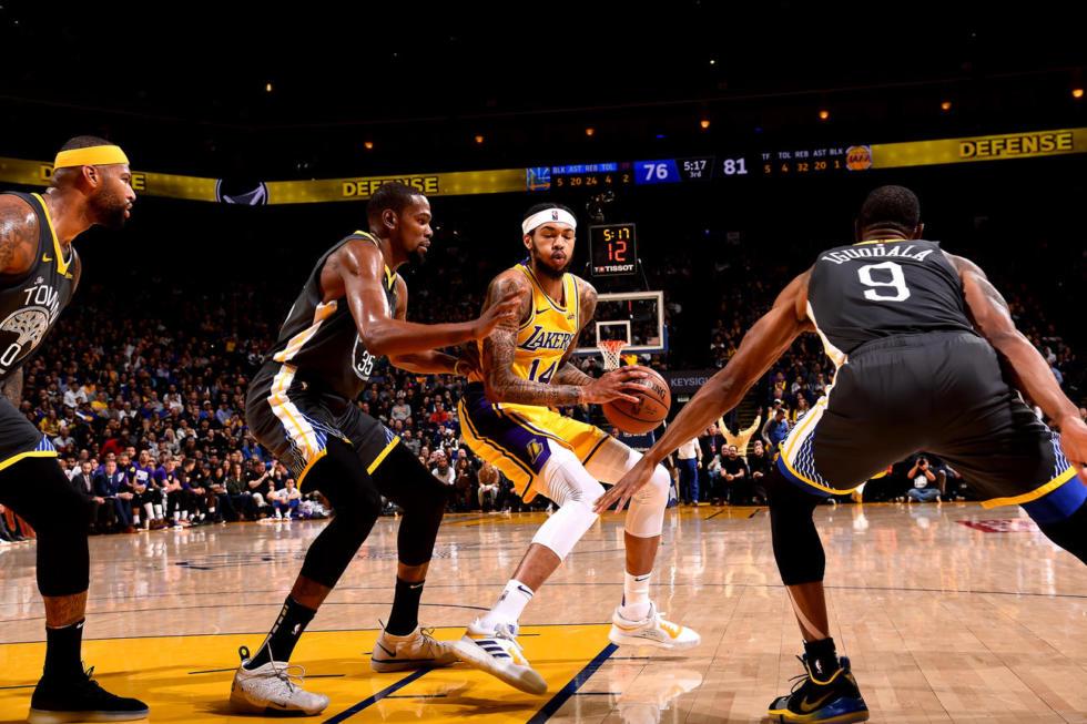 Brandon Ingram, Los Angeles Lakers vs Golden State Warriors at Oracle Arena