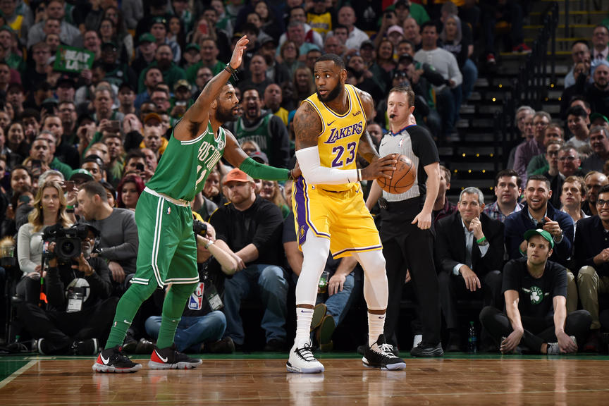 Kyrie Irving and LeBron James, Los Angeles Lakers vs Boston Celtics at TD Garden