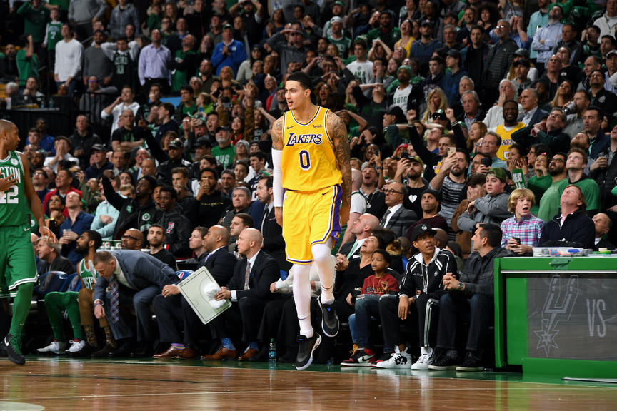 LA Lakers-Kyle Kuzma, Los Angeles Lakers vs Boston Celtics at TD Garden