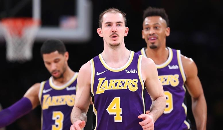 Alex Caruso, Los Angeles Lakers vs Denver Nuggets at Staples Center