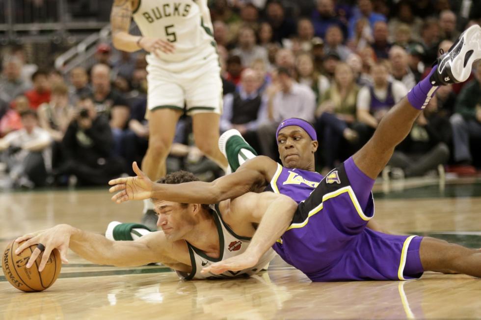 Brook Lopez and Rajon Rondo, Los Angeles Lakers vs Milwaukee Bucks at Fiserv Forum