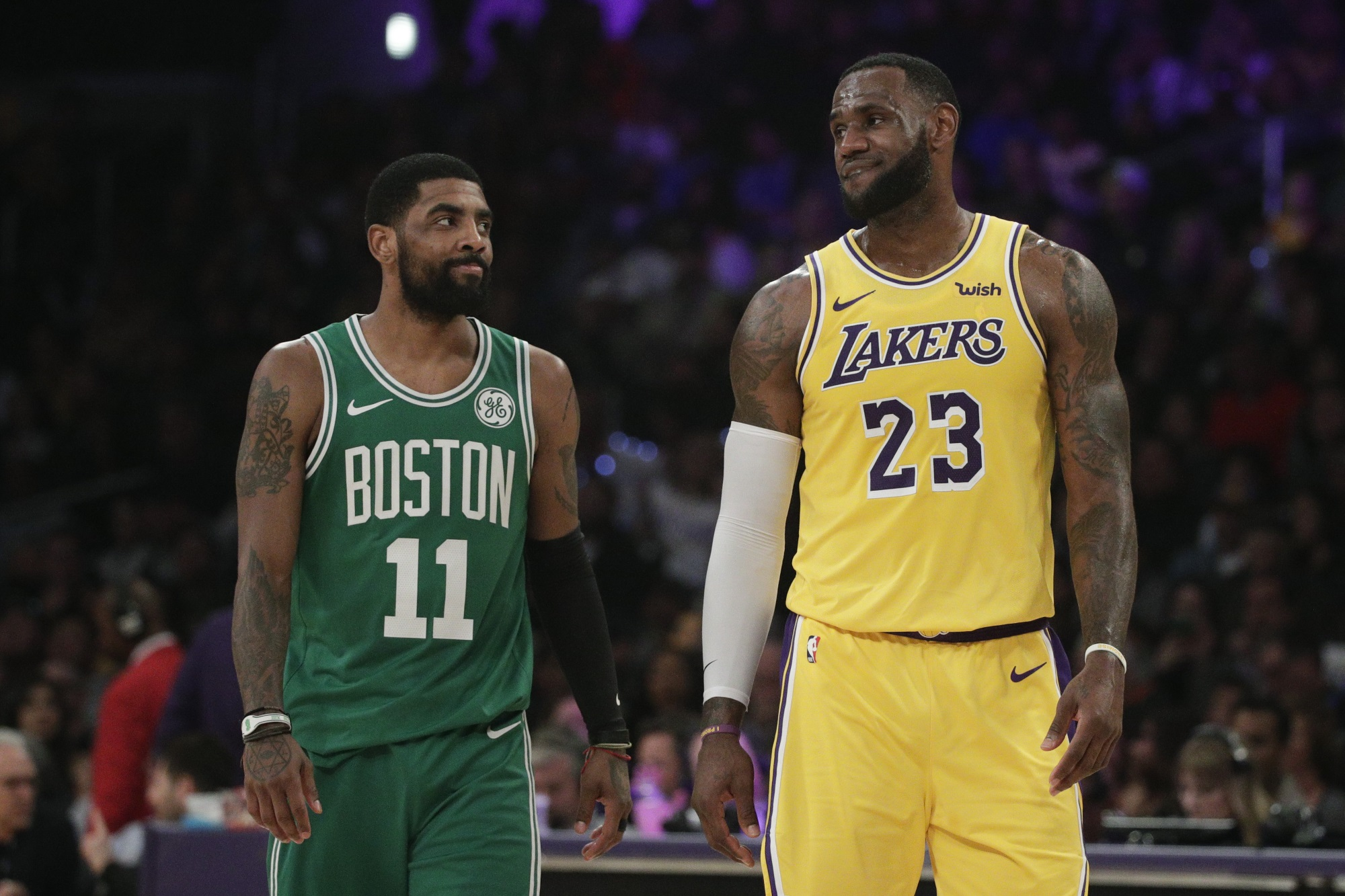 Kyrie Irving and LeBron James, Los Angeles Lakers vs Boston Celtics at Staples Center
