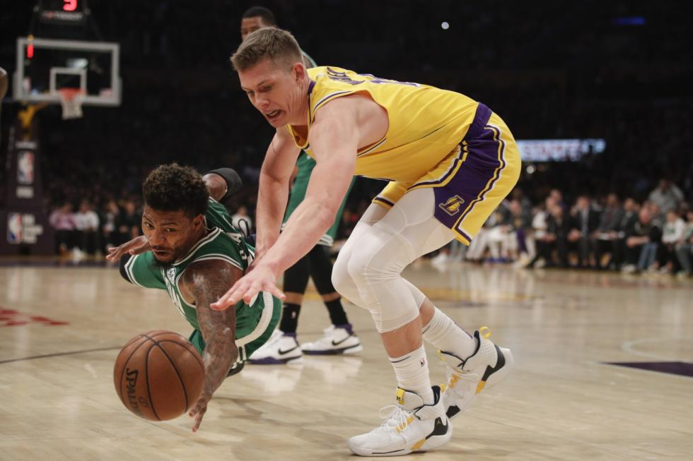 Marcus Smart and Moritz Wagner, Los Angeles Lakers vs Boston Celtics at Staples Center