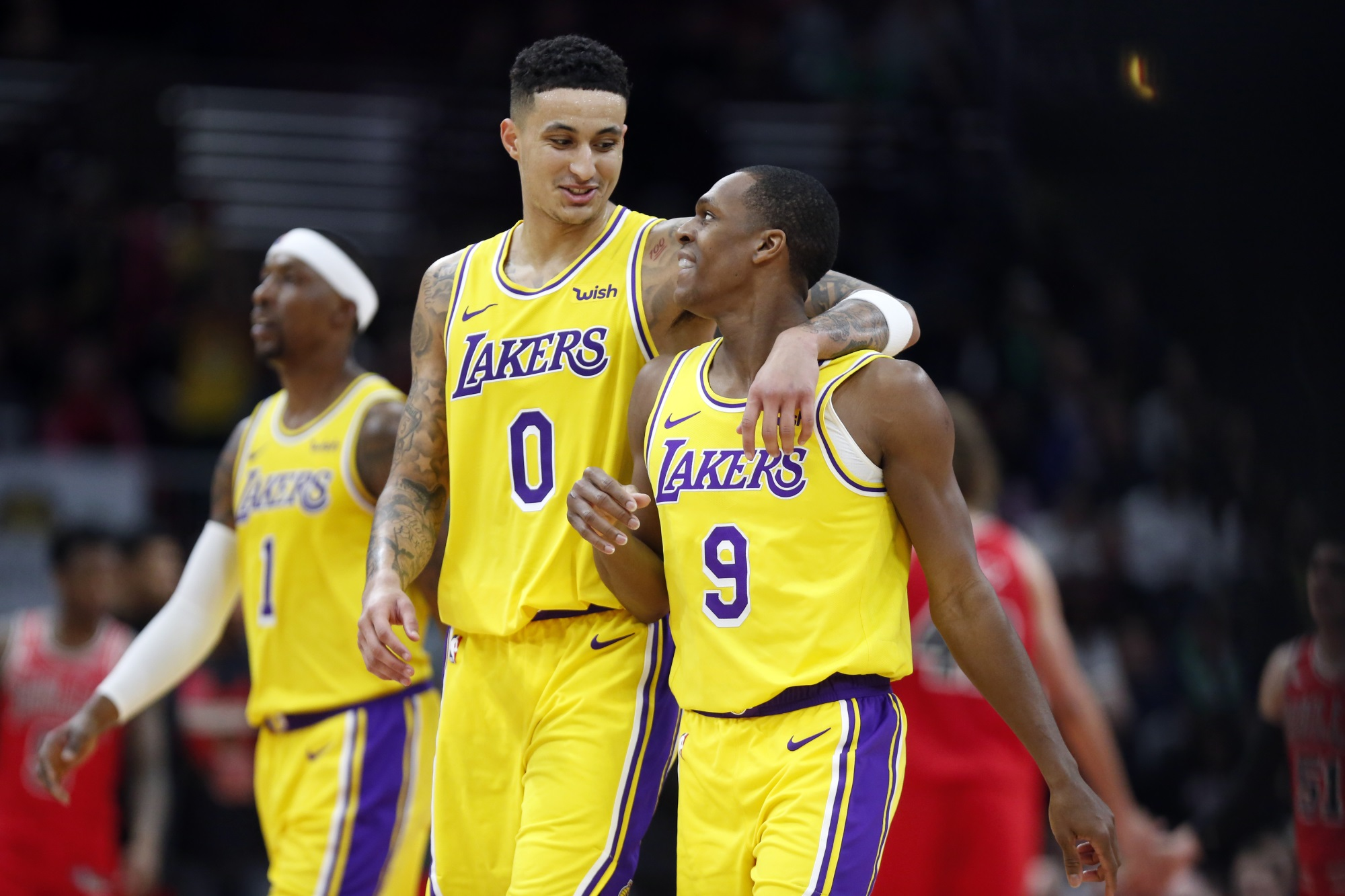 Kyle Kuzma and Rajon Rondo, Los Angeles Lakers vs Chicago Bulls at United Center