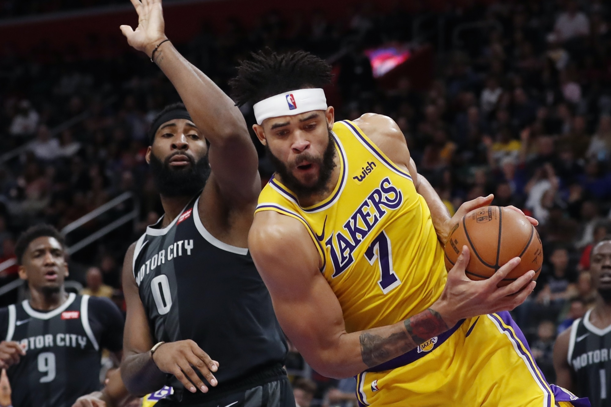 JaVale McGee and Andre Drummond, Los Angeles Lakers vs Detroit Pistons at Little Caesars Arena