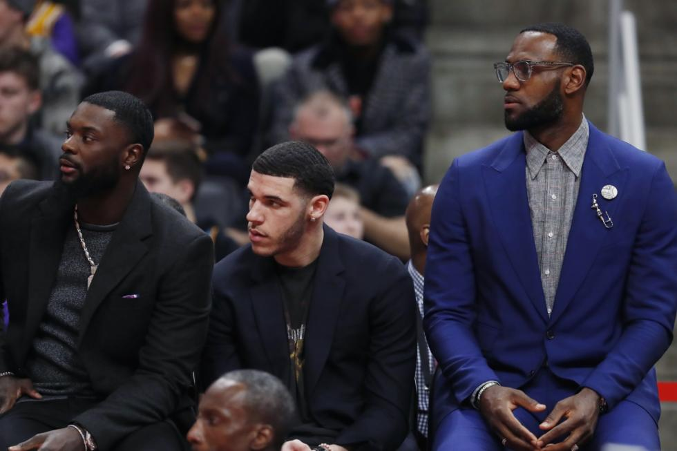 LeBron James, Lance Stephenson and Lonzo Ball, Los Angeles Lakers vs Detroit Pistons at Little Caesars Arena