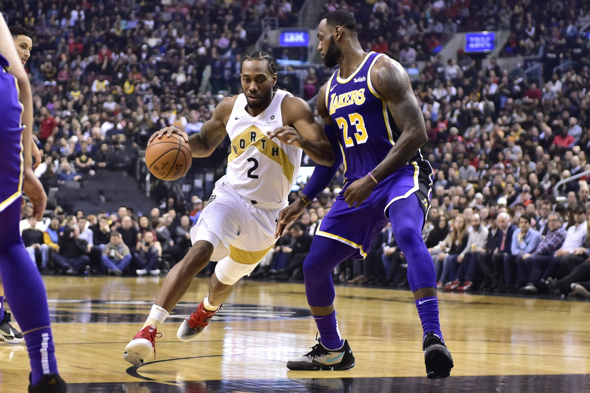 LeBron James and Kawhi Leonard, Los Angeles Lakers vs Toronto Raptors at Scotiabank Arena