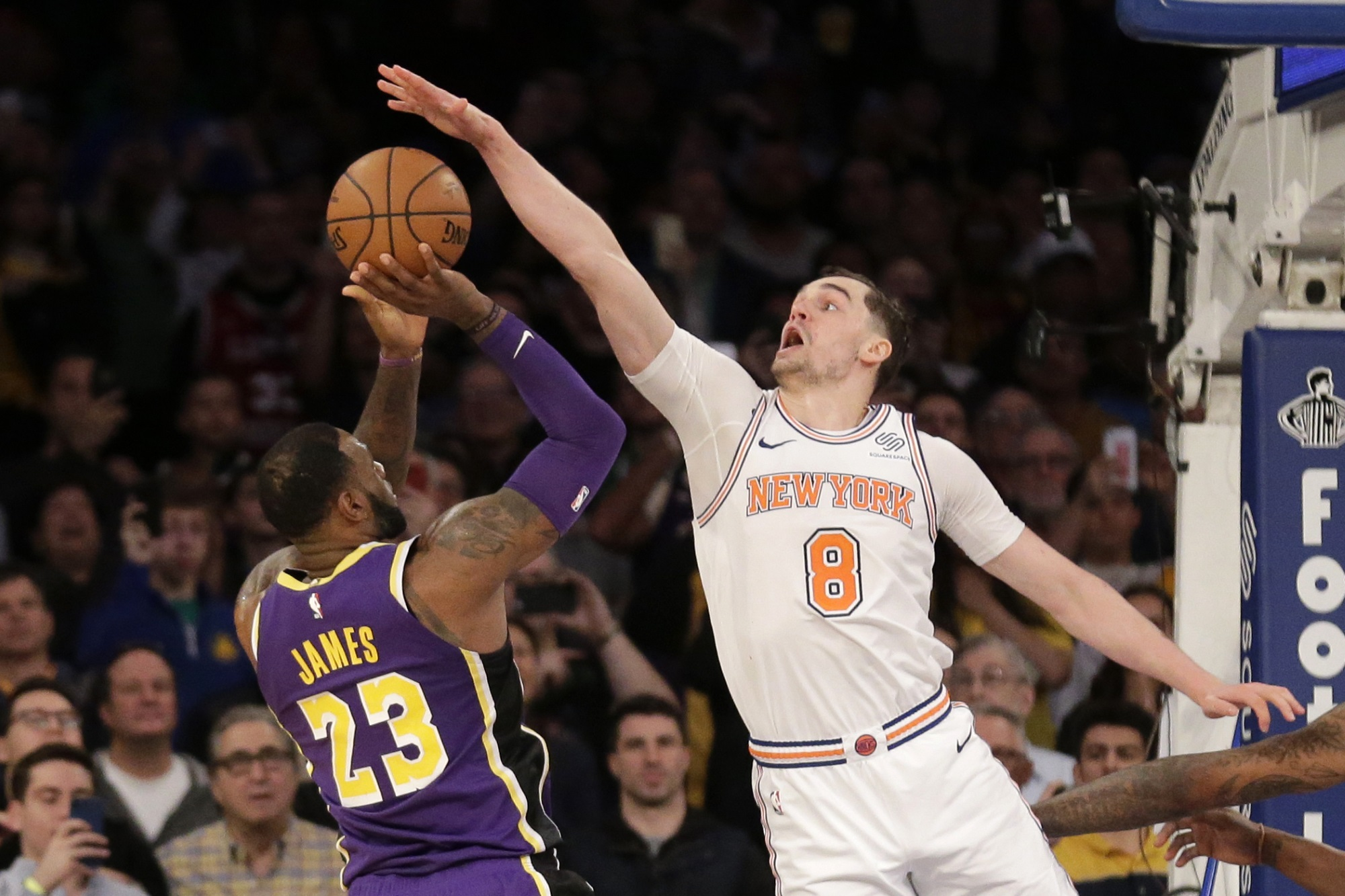 LeBron James and Mario Hezonja, Los Angeles Lakers vs New York Knicks at Madison Square Garden (Seth Wenig, AP Photo)