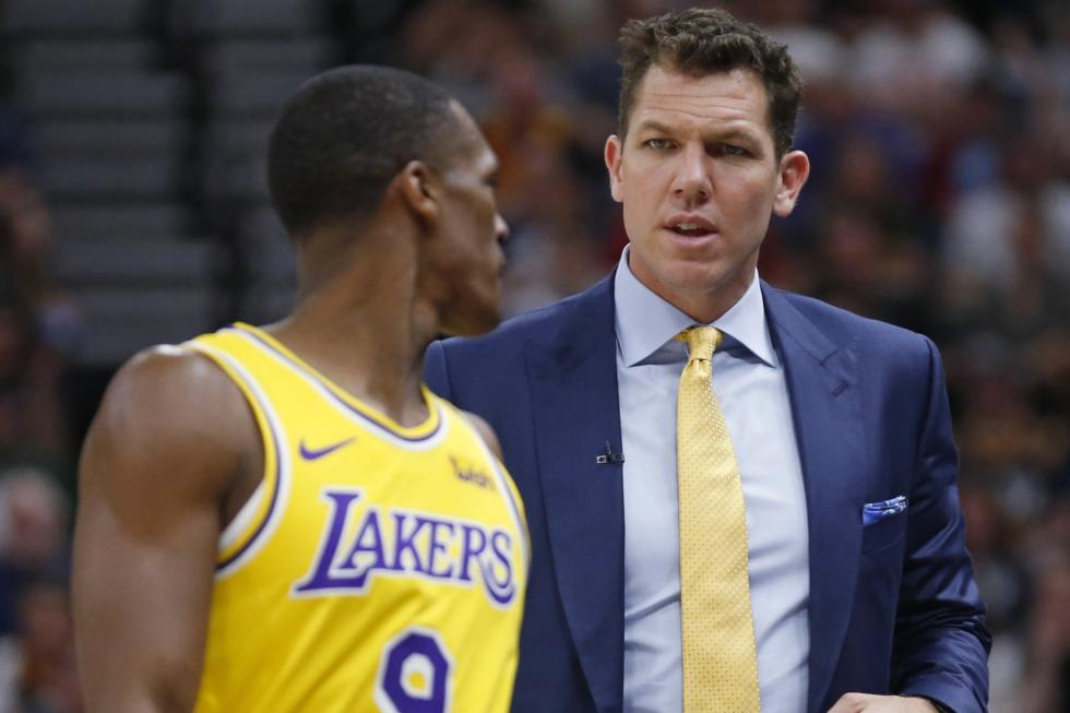 Rajon Rondo and Luke Walton, Los Angeles Lakers vs Utah Jazz at Vivint Smart Home Arena