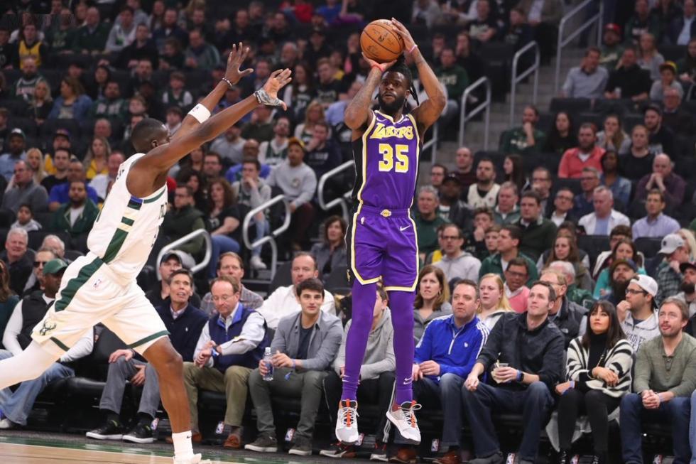 Reggie Bullock, Los Angeles Lakers vs Milwaukee Bucks at Fiserv Forum
