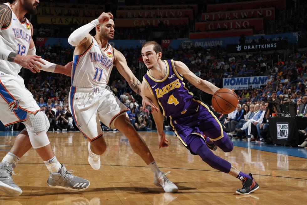 Alex Caruso, Los Angeles Lakers vs Oklahoma City Thunder at Chesapeake Energy Arena