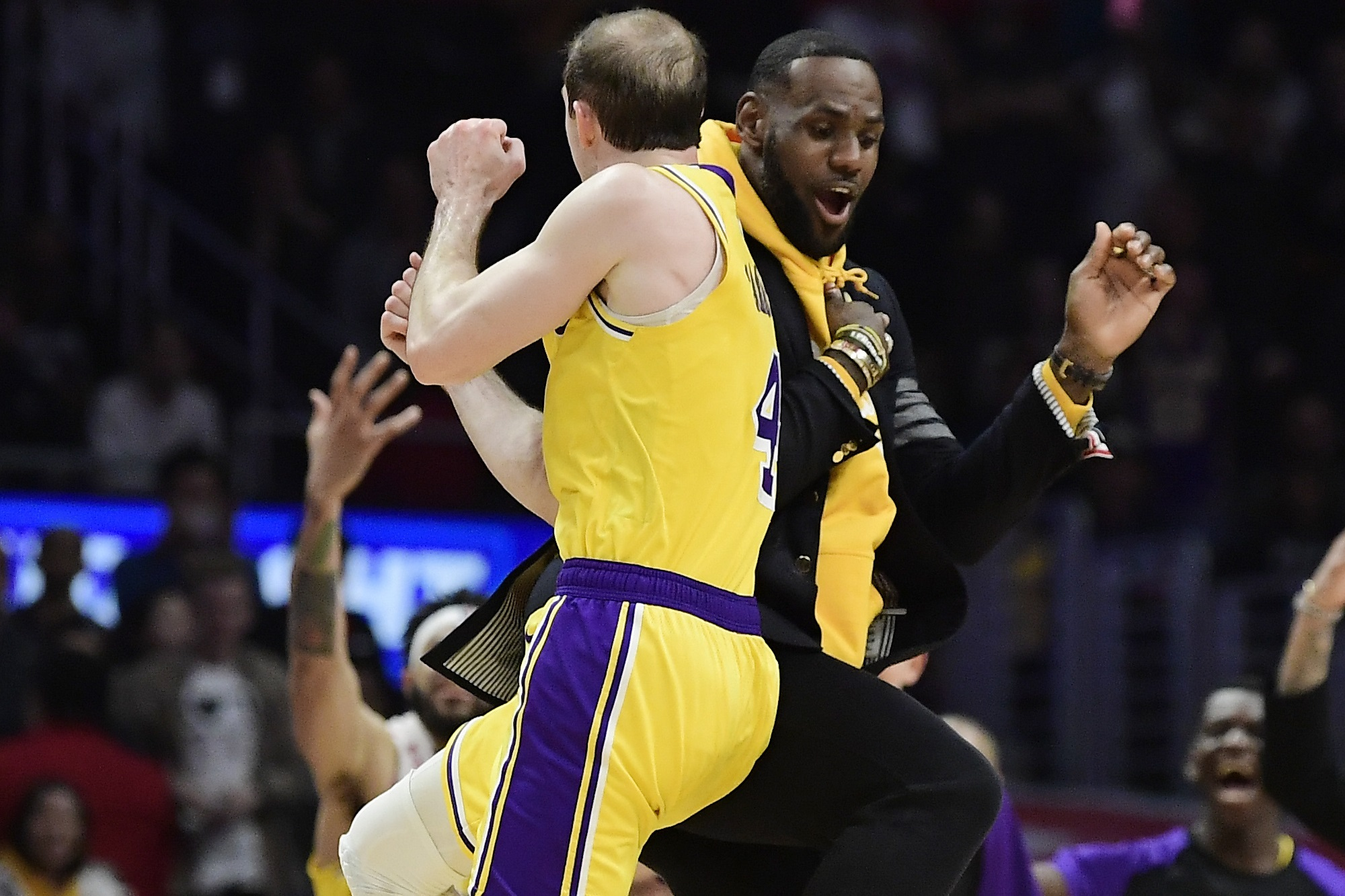 Alex Caruso and LeBron James, Los Angeles Lakers vs L.A. Clippers at Staples Center (Mark J. Terrill, AP Photo)