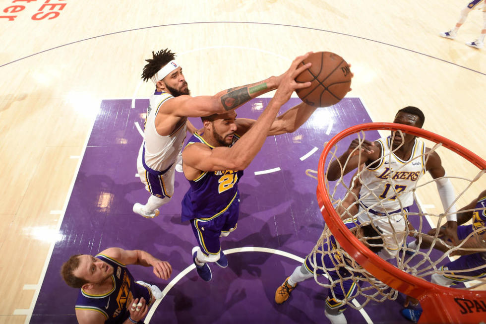 JaVale McGee and Rudy Gobert, Los Angeles Lakers vs Utah Jazz at Staples Center