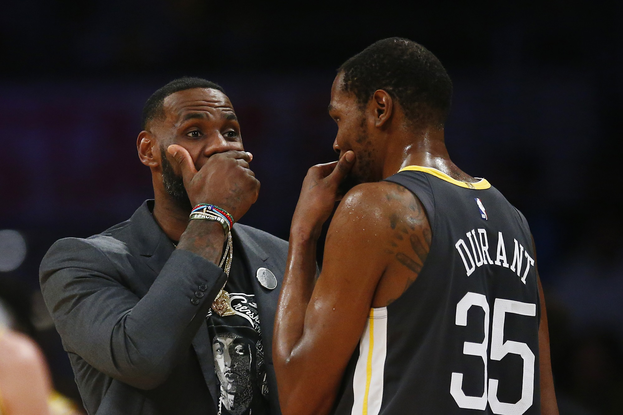 LeBron James and Kevin Durant, Los Angeles Lakers vs Golden State Warriors at Staples Center