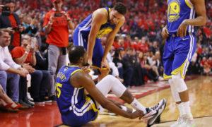 Kevin Durant e Klay Thompson, gravemente infortunati durante le Finals