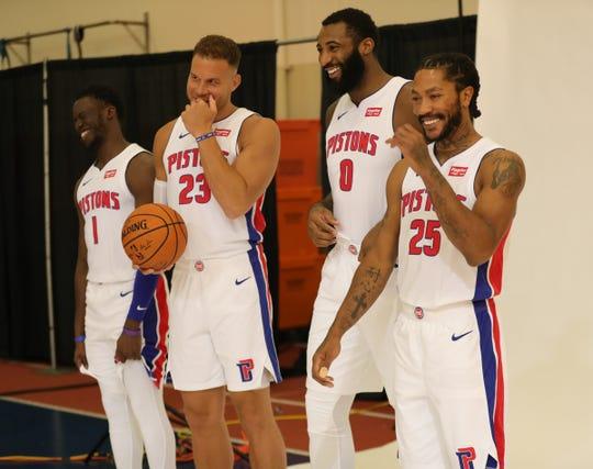 Da sinistra. Reggie Jackson, Blake Griffin, Andre Drummond e Derrick Rose