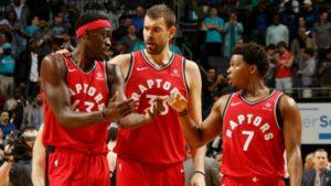 Pascal Siakam, Marc Gasol e Kyle Lowry, leader dei Toronto Raptors campioni NBA in carica